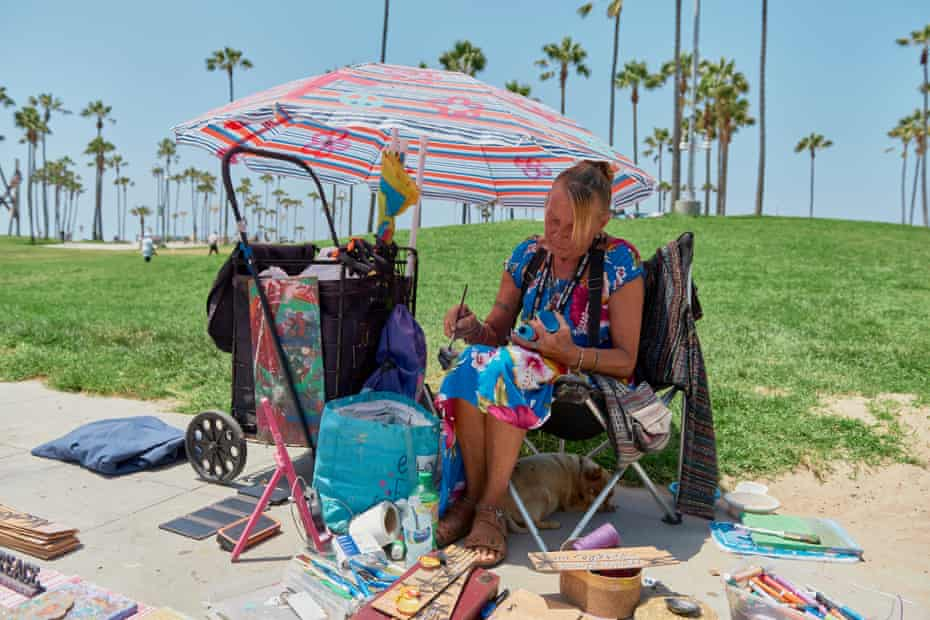 Teresa Vernon, a boardwalk vendor of paintings who was camping at the beach until she recently got a motel room.