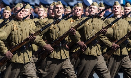 Military performers take part in celebrations marking the 70th anniversary of the Russian victory over Nazi Germany