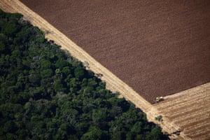 Harvester work in Soya crop in Mato Grosspo on July 07, 2010