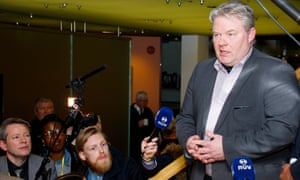 Sigurður Ingi Jóhannsson speaks to reporters at Iceland's parliament in Reykjavik.