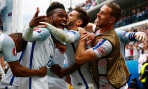 England's Daniel Sturridge celebrates after his late goal.