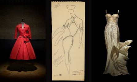 Écarlate afternoon dress, autumn-winter 1955 by Christian Dior; a sketch by Dior, autumn-winter 1950; and Christian Dior by John Galliano, 2008.