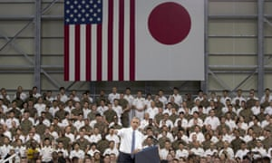 Barack Obama speaks to members of the US and Japanese military at Iwakuni.