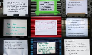 A composite photograph shows signs on shop fronts at Streatham High Road in south London