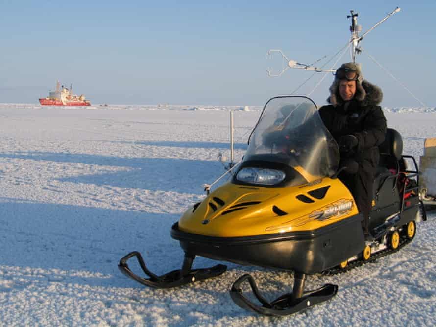 The author on board his noisy polar bear deterrent in the Amundsen Gulf, Canadian Arctic.