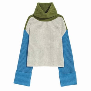 blue grey and green colour block polo neck jumper H&M