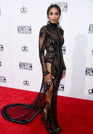 <strong>Flash the flesh</strong> Ciara in a bodycon column dress.