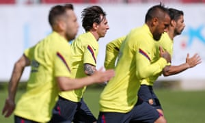 Ready to go: Lionel Messi and his Barcelona teammates will resume their title defence against Real Mallorca.