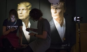 Portraits of Donald Trump and Vladimir Putin in a pub in Moscow