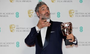 Taika Waititi with his award for Adapted Screenplay for 'Jojo Rabbit' at the British Academy of Film and Television Awards (BAFTA) at the Royal Albert Hall in London, Britain.