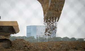 Plant machinery involved in constructing the Hinkley Point C power station near Bridgwater in Somerset.