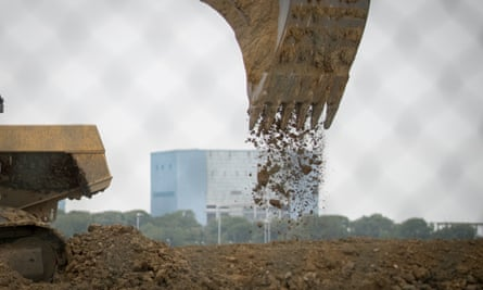 Construction site for the new Hinkley Point power station in Somerset, England