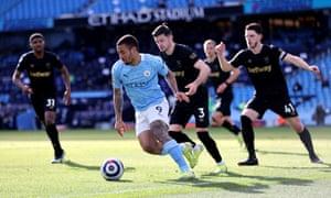 Manchester City's Gabriel Jesus keeps possession.