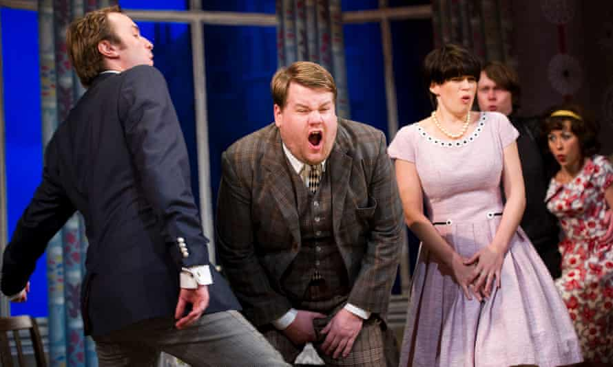 Oliver Chris, James Corden and Jemima Rooper in One Man, Two Guvnors at the National Theatre in 2011.