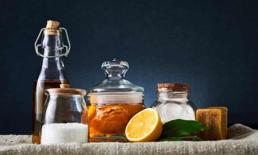 Natural cleaning tools: soap, vinegar, salt, lemon and sodium bicarbonate