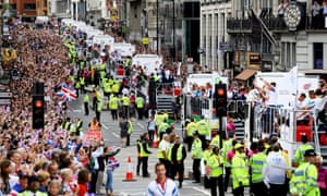 British Olympic and Paralympic athletes take part in the London 2012 victory parade through central London.