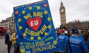 A pro-EU placard at a protest outside the Houses of Parliament