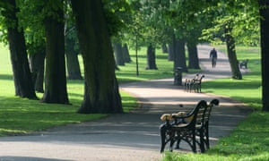 A morning walker amid park benches on a path in Clissold Park, London, UK.