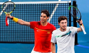 Rafael Nadal and Pablo Carreño Busta of Spain celebrate winning their ATP Cup quarter-final match against Belgium on Friday.