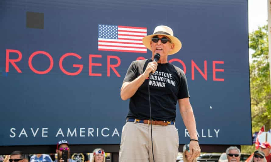 Roger Stone at the Save America Patriot Rally in Florida in April.