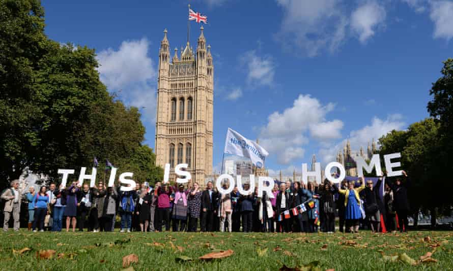 A 2017 protest outside parliament by EU citizens urging MPs to guarantee their rights after Brexit.