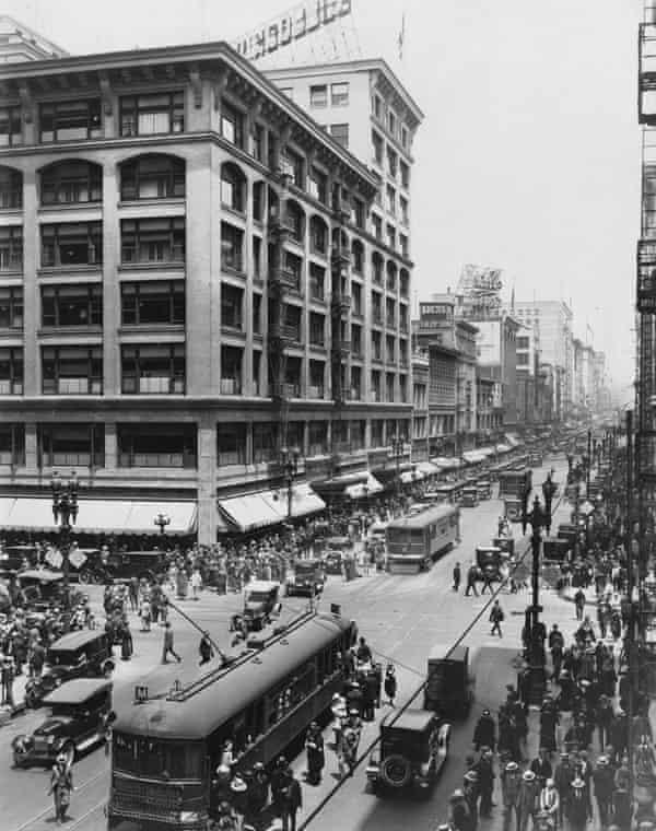 A streetcar on Broadway, LA in 1930.