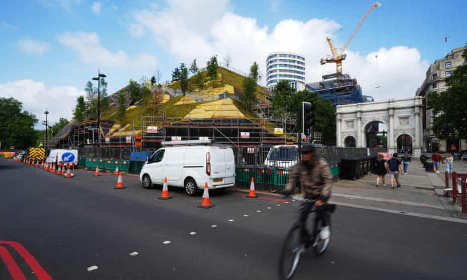 Marble Arch Mound under construction in London earlier this month.