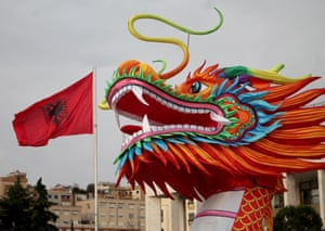 Chinese new year decoration are seen in the center square in Tirana, Albania