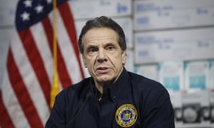 Andrew Cuomo speaks during a news conference at the Jacob Javits Center, which will house a temporary hospital, in New York, New York, on 24 March.