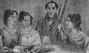 The Brontë sisters with their brother, Branwell, in a painting by him called the Gun Group Portrait.