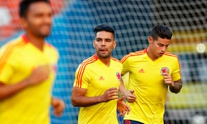 Radamel Falcao and James Rodriguez at a training session in Saransk.