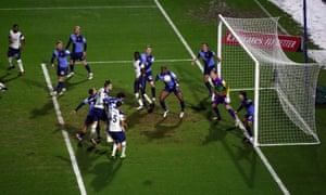 Gareth Bale heads wide.