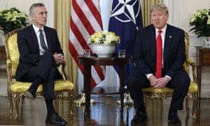 US President Donald Trump meeting NATO Secretary General, Jens Stoltenberg at Winfield House in London.