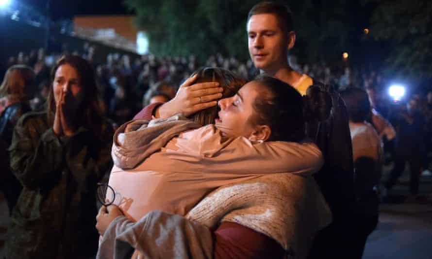 A woman hugs a relative released from the Okrestina prison in Minsk.