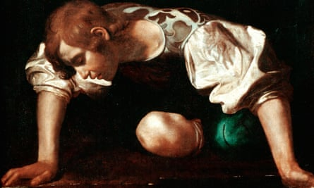A detail from Caravaggio's portrait of Narcissus.