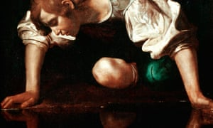 A detail from Caravaggio's painting of Narcissus.