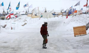 The Standing Rock camp, where temperatures are sub-zero. Activists say they will not give up their battle despite aggressive efforts to complete construction.
