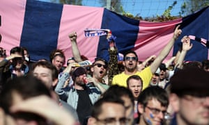 Dulwich Hamlet fans in full voice at their Champion Hill ground in south London.