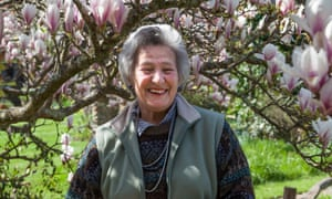 Mary Caroe in her garden in Hambledon, Surrey, which opened to the public for the National Garden Scheme for 50 years.