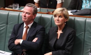 Christopher Pyne and Julie Bishop on the frontbench last year. Labor says the PM should take action over their appointments.
