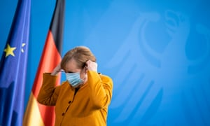 Merkel Gives Statement Following Reversal Of Easter Lockdown Decision<br>BERLIN, GERMANY - MARCH 24: German Chancellor Angela Merkel prepares to give a statement to the media to announce a reversal of the recently planned hard lockdown for Easter on March 24, 2021 in Berlin, Germany. Merkel and leaders of Germany's 16 states had recently agreed to the hardest lockdown to date for the Easter period of April 1 through April 5 in an effort to stem the spread of the B117 coronavirus variant. COVID-19 infection rates are currently rising strongly in Germany. (Photo by Henning Schacht - Pool/Getty Images)
