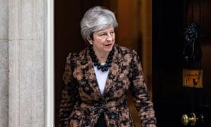 Theresa May at 10 Downing Street, London.
