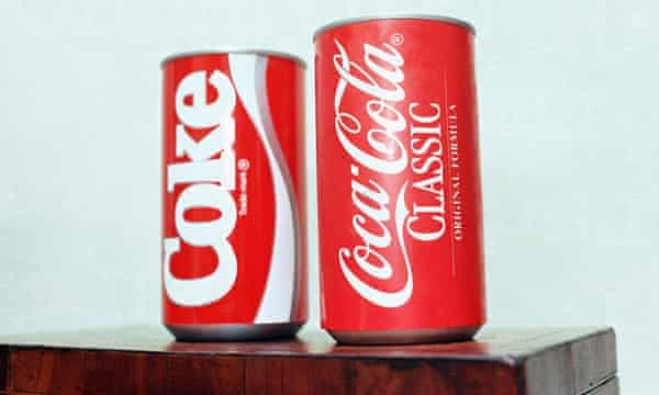 Cans of New Coke and Coca-Cola Classic.