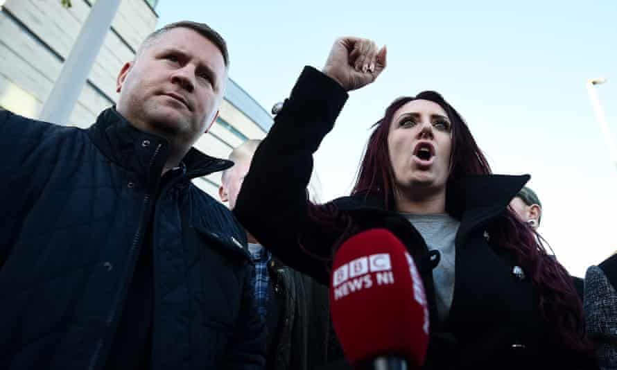 Paul Golding and Jayda Fransen outside Belfast Laganside courts after Fransen was released on bail