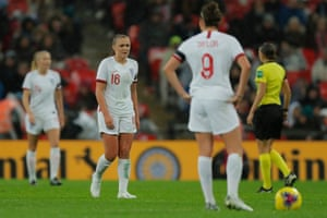 England's Georgia Stanway looks dejected after Germany scored their second goal.