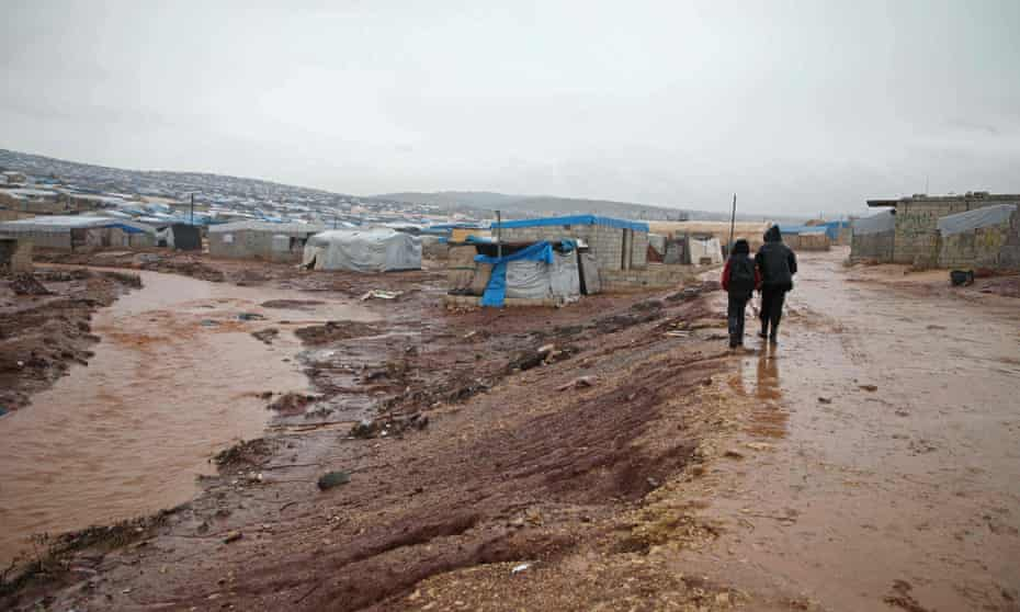 A camp for displaced people in the village of Atme, in Syria's Idlib province