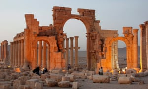 The historic site of the ancient city of Palmyra in central Syria.