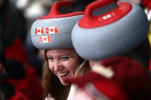 Canadian fans dressed as curling stones for the day