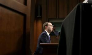 Mark Zuckerberg testifying before a US Senate committee
