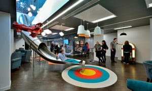 Ticketmaster offices with toy airplanes and slide